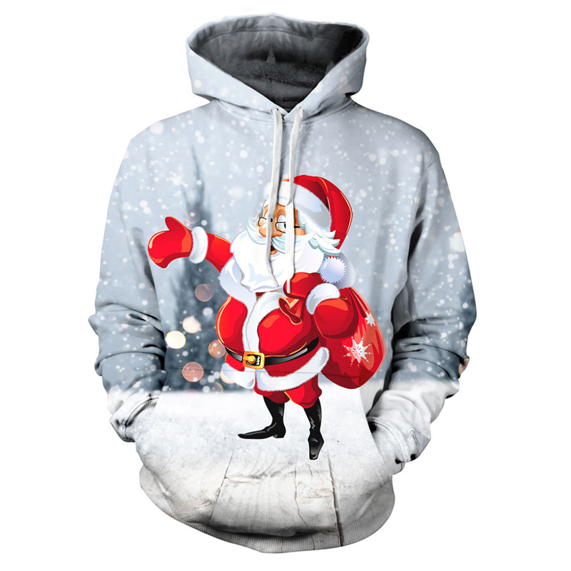 New Sweatshirts Men/Women Santa Claus Printing Tops With A Hood Hoodies Long Sleeve Casual Hooded Pullover Clothes Sweatshirt