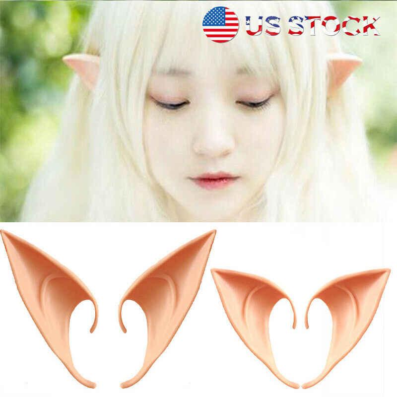 1 par Mulheres Halloween Cosplay Decoração Látex Elf Ears Apontou Máscara Cosplay Máscara Do Partido do Dia Das Bruxas Trajes Nova Namorada Presente