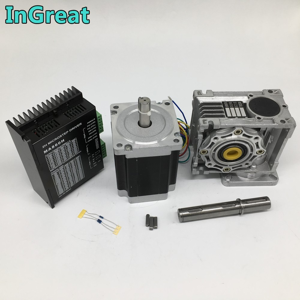 Ratio 10:1  Worm Gearbox RV040 Speed Reducer & Nema34 6.5Nm Stepper Motor 2ph 4 Wires  Driver MA860H  7.8A for CNC Router