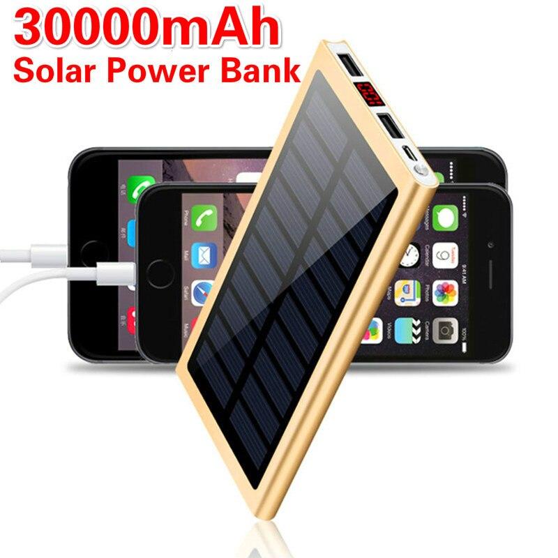 Solar Power Bank 30000mah External Battery 2 USB LED Portable Powerbank Mobile Phone for All smartphones    Solar Charger|Внешние аккумуляторы|   | АлиЭкспресс
