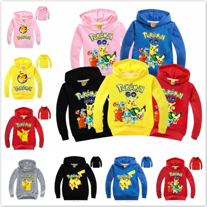 Girls T-Shirt Hoodies Spring Go-Pikachu POKEMON Long-Sleeve Boys Kids Children Cotton title=
