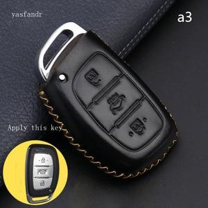 Image 2 - Car Key Case Cover Remote For Hyundai IX25 IX35 I20 I30 I40 hb20 Santa Fe Creta Solaris 2017 Genuine Leather 3 Buttons Key Shell