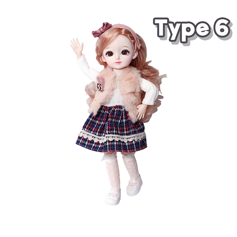 New 1/6 12 Inch 31cm Bjd Doll 23 Joints Long Wig Plastic Toys Musical Doll Girls Children's Favorite Fashion Birthday Presents 12