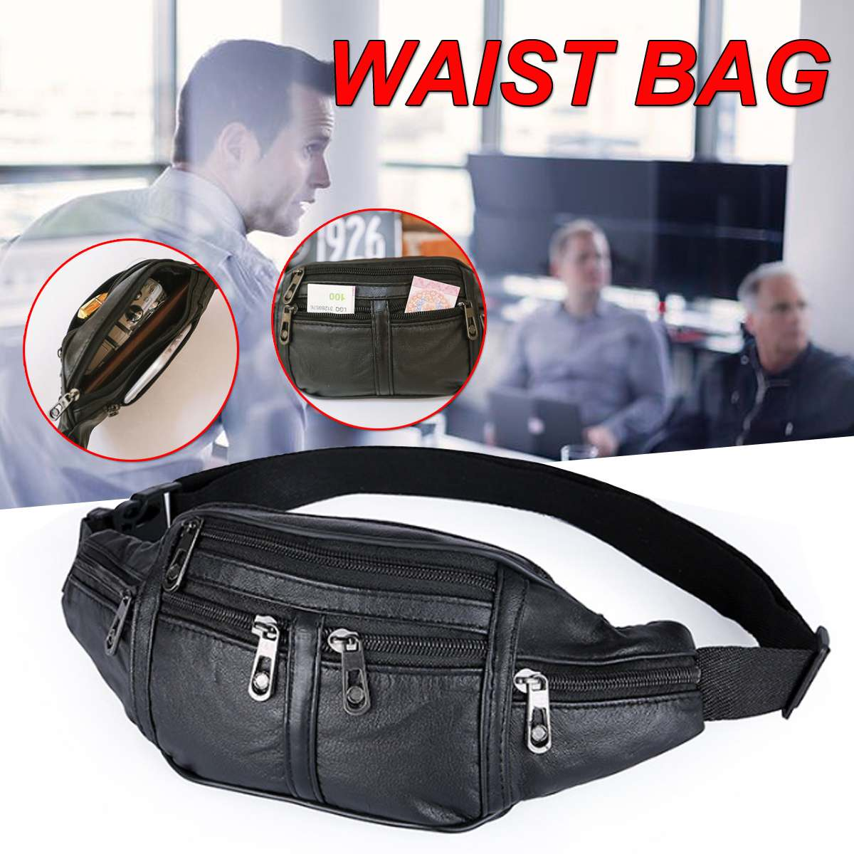 Men Genuine Leather Waist Chest Bags Pouch Single Shoulder Cross Body Bags High Quality Natural Skin Hip Bum Fanny Belt Pack(China)