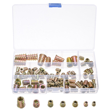 100Pcs/set M4/5/6/8/10 Threaded Hex Drive Insert Fixing Wood Screw Inserts Nuts Knurled Set For Electrical