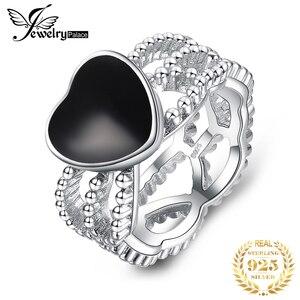 Image 1 - JewelryPalace Vintage Amore 4.4ct Genuine Black Onyx Intrecciate Fascia di 925 Anello In Argento Sterling Per Le Donne 2018 Nuova Vendita Calda