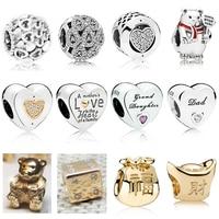 Новые новые 925 стерлингового серебра и золотые талисманы для любви папа и дочь бусины Ясно CZ подходят для женщин Браслеты DIY оптовая продажа ...