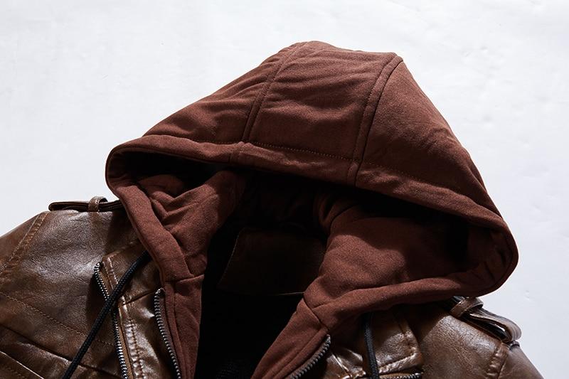 H524ba6c83da745069eb09d25a880912ds Men Hooded Jacket And Coat Autumn Winter Warm Casual Leather Jackets PU Coats Slim Fit Outerwear Male Zipper Hoody Sportswear