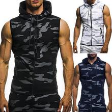 Nowi mężczyźni Tank topy dla kulturystów siłownie Fitness trening bezrękawnik z kapturem mężczyzna dorywczo kamuflaż kamizelka z kapturem mężczyzna odzież moro tanie tanio WICCON CN (pochodzenie) Denim Na co dzień Leopard ZY5246F04 Poliester O-neck Men T-shirt gym clothing man s T-shirts