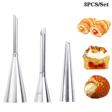 3pcs/set Stainless Steel Icing Piping Nozzle Set Cupcake Cake Decorating Tips for Puff Cream Pastry Piping Nozzles Baking Tools sophronia 90pcs set pastry nozzles and korean style stainless steel pastry piping nozzles tips russian tulip set cs096