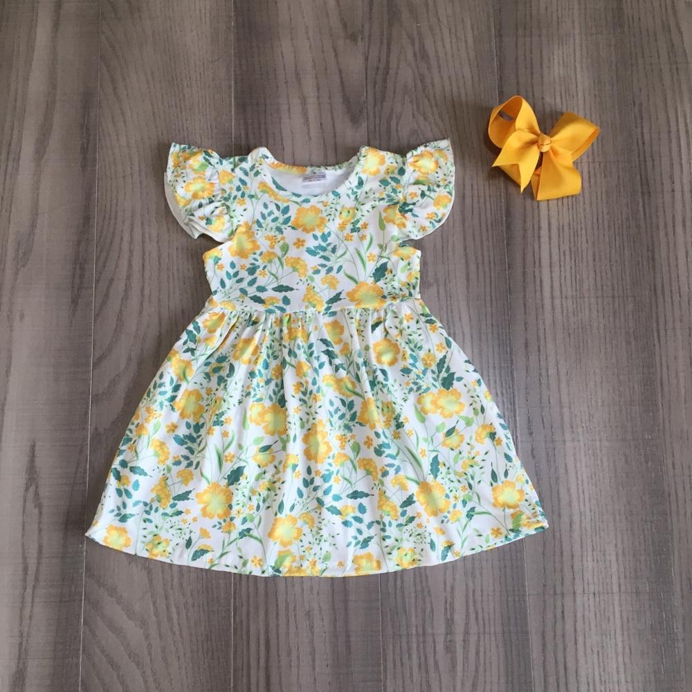 Exclusive summer baby girls children clothes boutique leopard flower farm dinosaur cotton milk silk knee length dress match bow 2