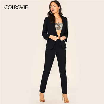 COLROVIE Black Shawl Collar Blazer And Cigarette Pants Set Women Solid Pants Set 2019 Autumn Ladies Outfit Sexy Women Set