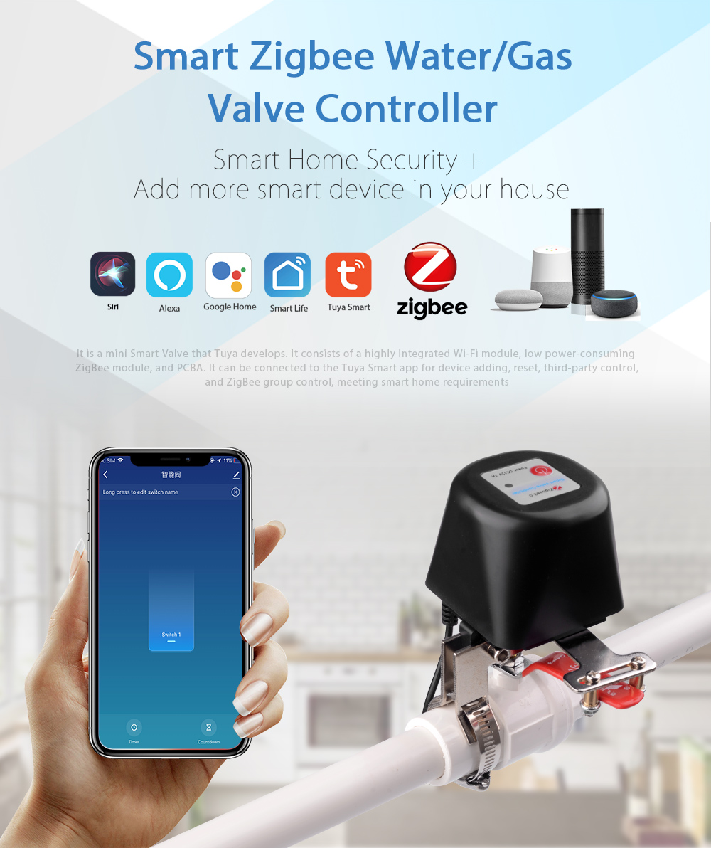 Tuyasmart Zigbee Remote Control Gas Water Valve Home Automation System Valve Voice Control Work With Alexa Echo Google Home