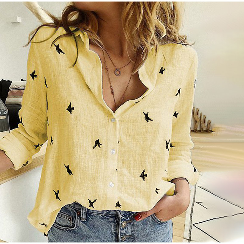 H524c6664180448e28d21923e72f16eeag - Women's Birds Print Shirts 35% Cotton Long Sleeve Female Tops Spring Summer Loose Casual Office Ladies Shirt Plus Size 5XL