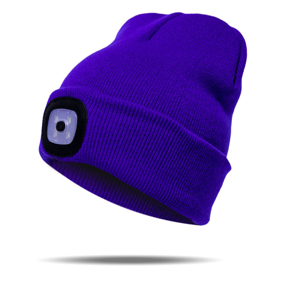 LED Light Hat New Unisex Autumn Winter Outdoor Fishing Cap  Running Knitted Beanie Hat Climbing Pullover Cap For Camping