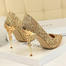 Big tree women's shoes 2019 new pointed shallow mouth fine with gold silver blue high heels wedding fetish high heels sexy clear недорго, оригинальная цена