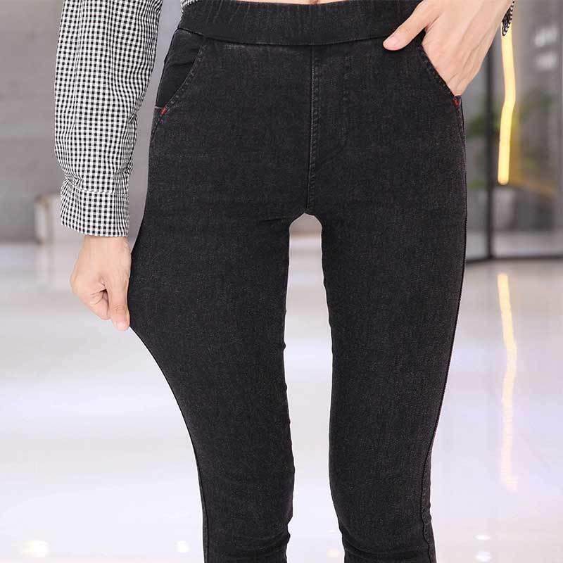 Bella Philosophy 2019 Autumn Winter Women Pencil Pants Slim Elastic Small Jeans Pants Fleece Nine Points Trousers Black Leggings 4
