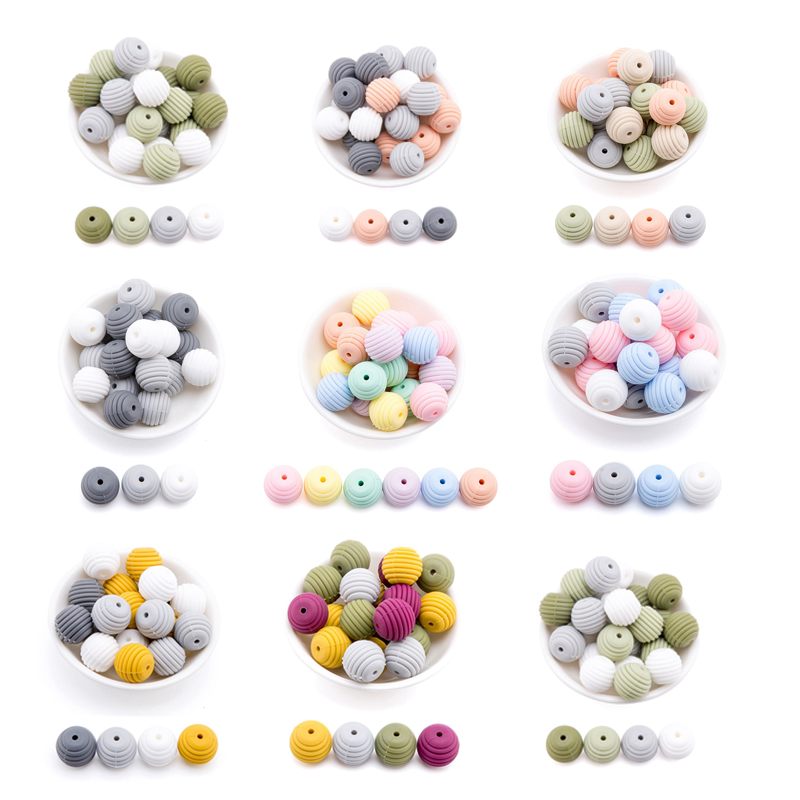 Let'S Make 20Pc Baby Teether Thread DIY Silicone Beads For Baby Rattle Toys Crib Mobile Pearls Beads Teething Silicone Teether