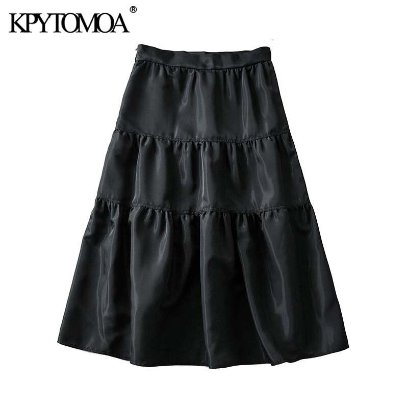 Vintage Elegant Solid Pleated Midi Skirt Women 2020 Fashion A Line Side Zipper Female Skirts Causal Faldas Mujer