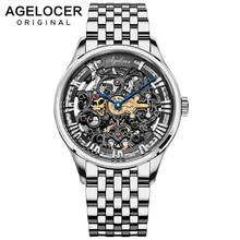 AGELOCER Swiss Design Hollow Engraving Black Steel Power Reserve 80H Skeleton Mechanical Watches Men Luxury Brand Heren Horloge
