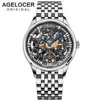 AGELOCER  diseño suizo  grabado de huecos  acero negro  reserva de energía 80 H  relojes mecánicos de esqueleto  marca de lujo para hombres  Heren Horloge