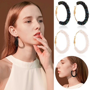 Vintage Temperament Earring For Women Simple Crystal C-Shaped Earrings Female Fashion 2021 image