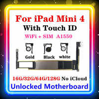 For iPad Mini 4 Motherboard Original Unlocked iCloud Mainboard 16G 32G 64G 128G A1550 Touch ID WLAN+Cellular Version Logic Board