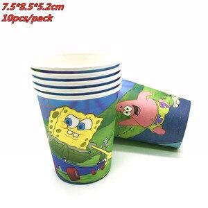 Мультяшная губка-Боб на день рождения вечерние украшения одноразовая посуда по производству бумажных тарелок чашки флага для девочек и мальчиков детского дня рождения вечерние Товары для детей