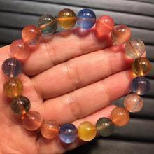 Certificat naturel noir cuivre rouge or vert cheveux rutilé Quartz Bracelet femmes hommes 10mm cristal perles rondes bijoux AAAAA