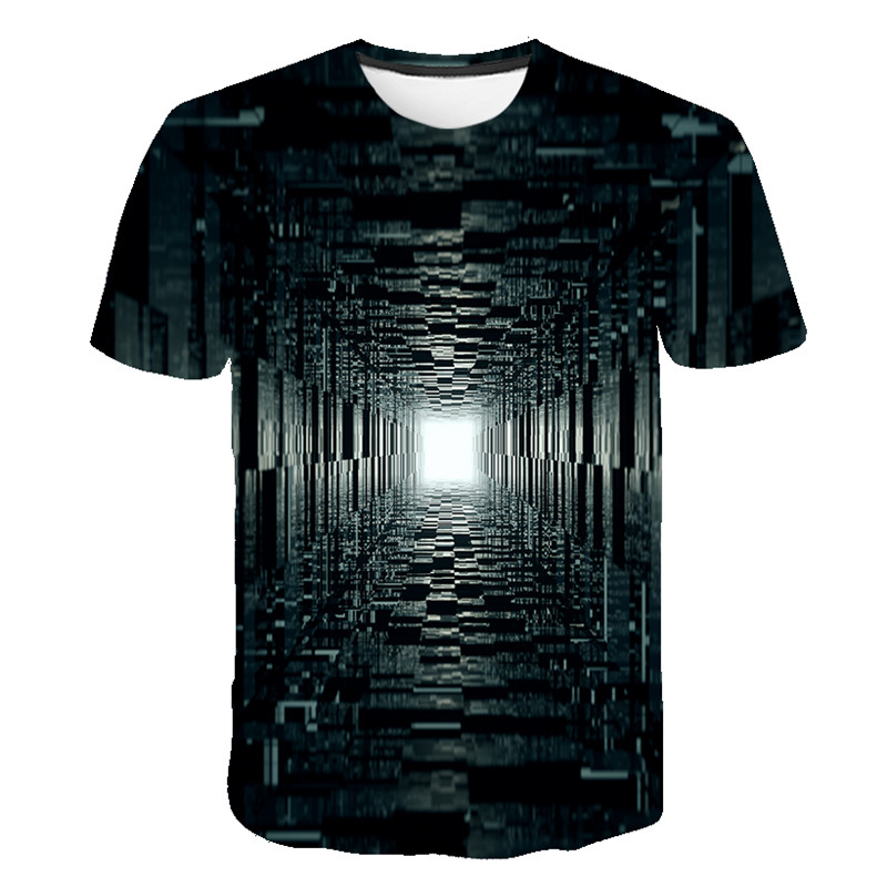 2020 Summer New High Quality 3D Lllusion Picture T-shirts Men Summer Black Series Print Casual 3D T Shirt Tops Tee Plus Size 6XL