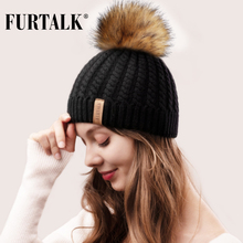 FURTALK Winter Hat for Women Pompom Beanie Knitted Double Layer Soft Warm Hats Female Ladies Korean Red Black Cap