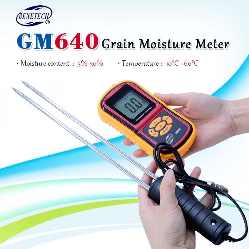Aletler'ten Nem Ölçerler'de 100% orijinal BENETECH GM640 gıda nem ölçer prob iğne mısır buğday RiceTemperature nem test cihazı monitör title=