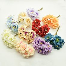 6/18 Pieces artificial flowers Cherry blossoms wedding decorative flowers wreaths christmas decorations for home diy gifts box(China)