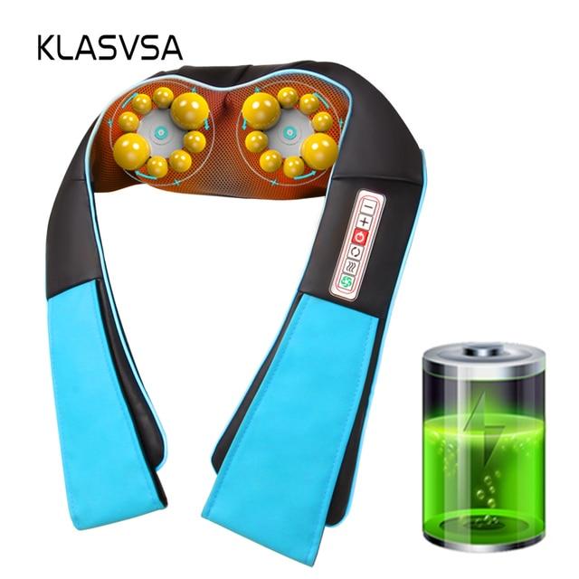 KLASVSA لاسلكي قابلة للشحن شياتسو الرقبة الظهر مدلك المحمولة U شكل جهاز مساج كهربائي مع الحرارة العجن سيارة/المنزل masagem