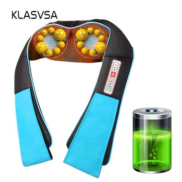 KLASVSA bezprzewodowy akumulator Shiatsu masaż pleców na szyję przenośny masażer elektryczny w kształcie litery U z podgrzewanym ugniataniem samochodu/domu Massagem