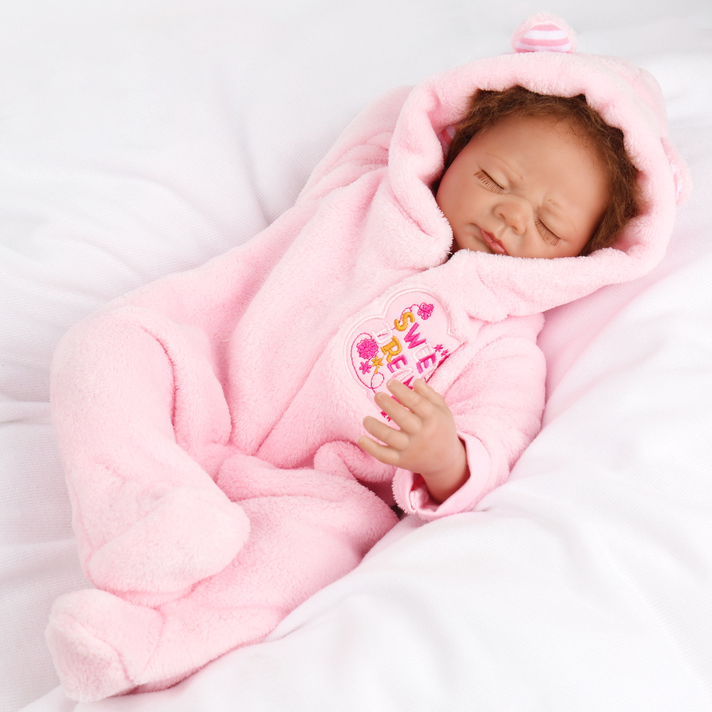 Closed eyes reborn girl baby real soft rag doll with pink plush...
