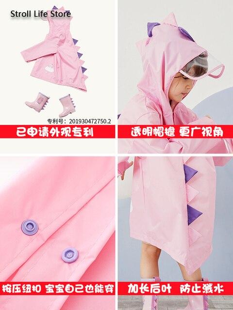 Cute Girl's Waterproof Raincoat Kids Rain Poncho Pink Dinosaur Long Clear Rain Coat Jacket Capa De Chuva Rain Suit Gear Gift 2