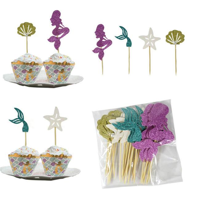 Mermaid Cake Topper set-24pcs
