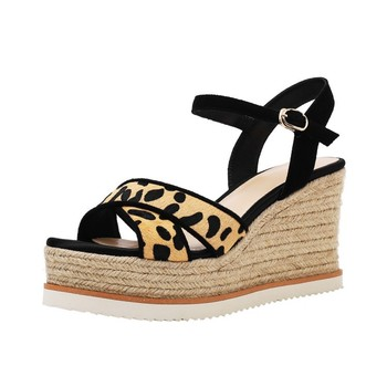 Leopard  Wedge Sandals Spring 2020 Comfortable Sandals Genuine Leather Shoes For Woman  Plataform Calzado Mujer