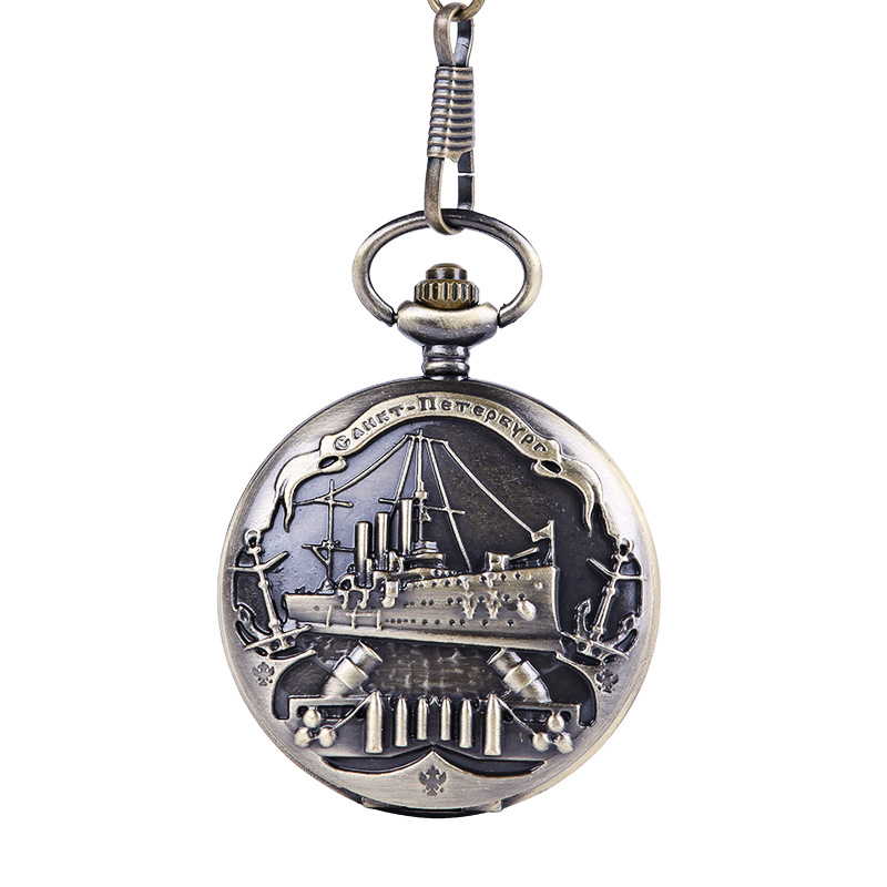 9063Large Bronze Embossed Cruise Ship Pocket Watch European And American Style Pirate Ship Retro Thick Chain Pocket Watch