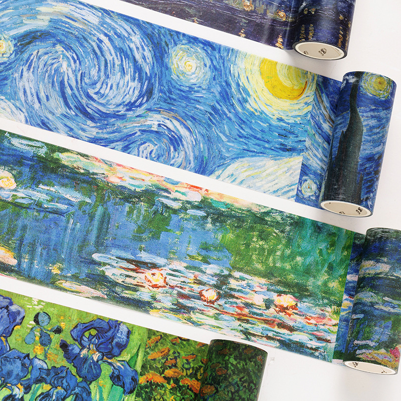 10cm Wide Art Museum Series Journal Washi Tape Van Gogh Oil Painting Decorative Adhesive Tape DIY Scrapbooking Sticker Label