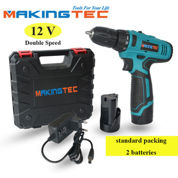 MAKINGTEC 12V Cordless Drill Electric Screwdriver Hand Drill Power Driver Lithium-Ion Battery Wireless Power Drill Power Tools voto battery rechargeable cordless drill electric screwdriver set lithium power tools screw gun driver 12v red 220v 2018