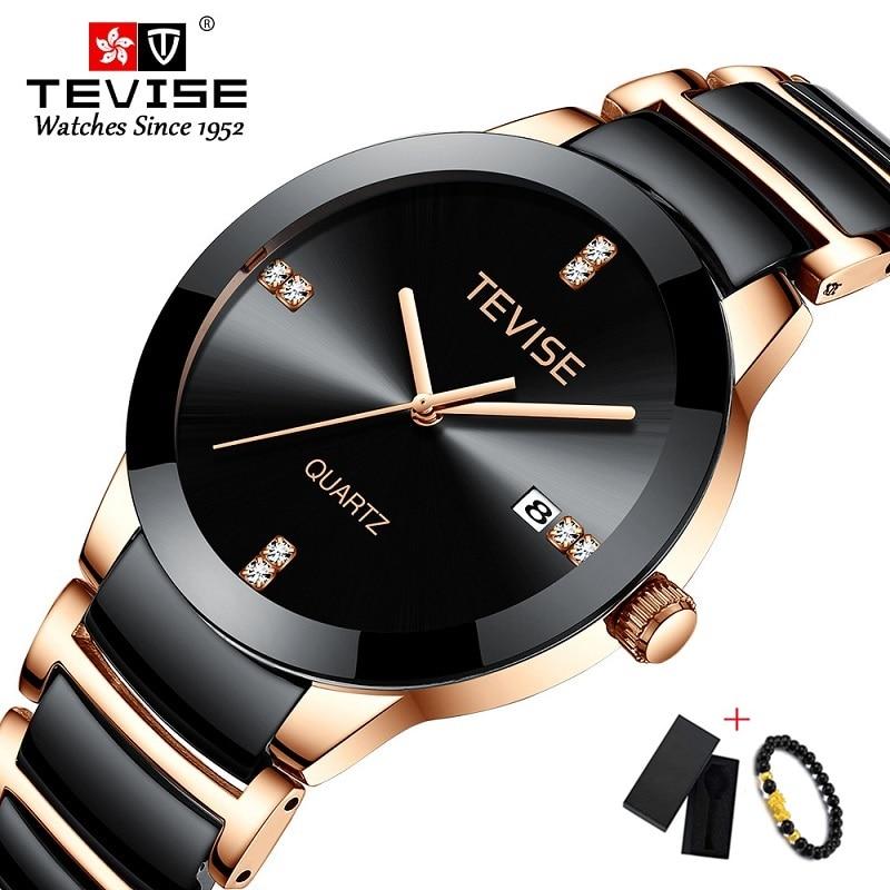 TEVISE Ceramic Watch Men Luxury Quartz Wristwatch Mens Auto Date Men's Watches Casual Business Male Clock Erkek Kol Saati 2019