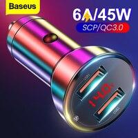 Baseus 45W In Metallo Dual USB di Ricarica Rapida 4.0 3.0 Caricabatteria Da Auto SCP QC4.0 QC3.0 Veloce Caricabatteria Da Auto USB Per iPhone Xiaomi Telefono Cellulare