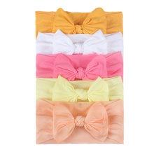 Ensemble de 5 bandeaux élastiques avec nœud pour bébé et enfant en bas âge,accessoire pour cheveux genre turban. de couleur unie, pour fille, 5 pièces,