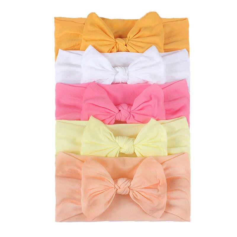 5 Stks/set Baby Meisje Hoofdband Bows Elastische Hoofdbanden Haarband Voor Meisjes Effen Kleur Kids Peuter Tulband Baby Haar Accessoires