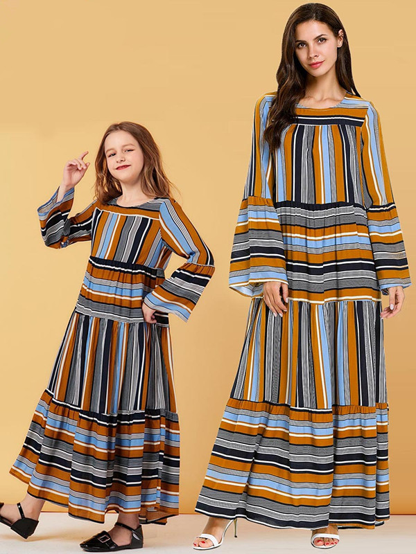 Girl's Yellow Pastel Stripe Long-sleeved Flared Sleeve Dress Muslim Casual Dress 2019