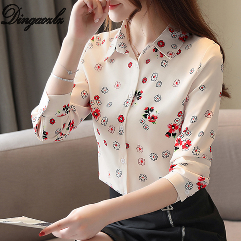 Dingaozlz 2019 New Korean Long Sleeve Chiffon Blouse Elegant Female Printed Chiffon Shirt Women Tops Casual Clothing