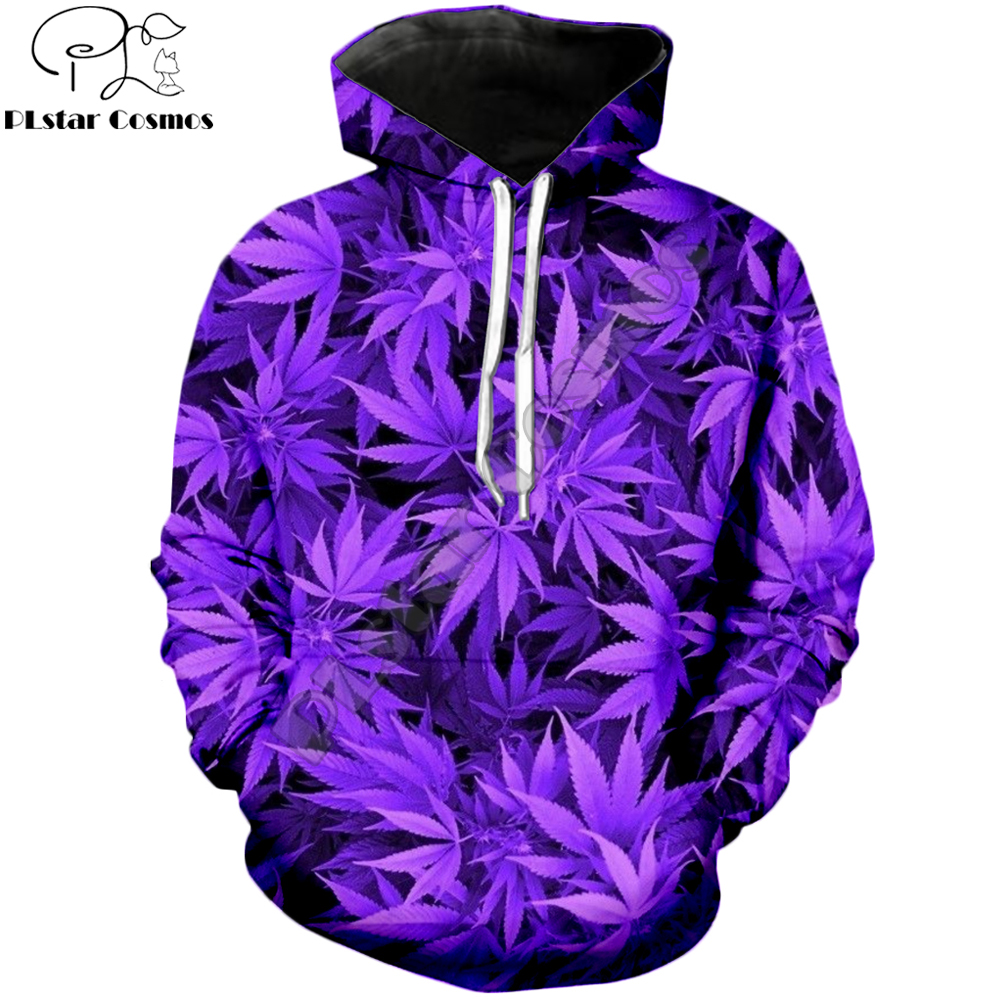 PLstar Cosmos 2020 Autumn Fashion Men Hoodies Harajuku Sweatshirt Purple Weed 3D Full Printed Unisex Streetwear Hoodie Jacket