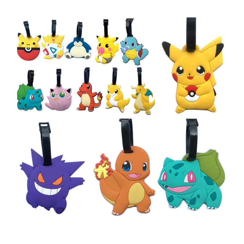 New Fashion Suitcase Pikachu Pokemon Luggage Tags Cute ID Address Holder Mermaid Luggage Label Travel Accessories Bag Tag